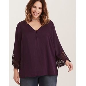 Torrid plum lace inset bell sleeve satin blouse